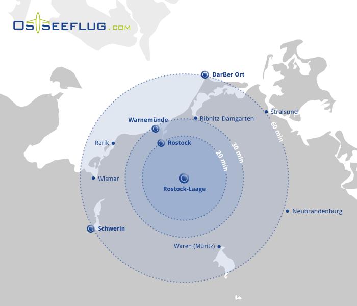 Die Grafik zeigt eine Landkarte mit Entfernungskreisen um den Flughafen Rostock-Laage. Die drei Reichweitenkreise beschreiben die Flugentfernungen von 20, 30 und 60 Minuten Gesamtflugzeit.