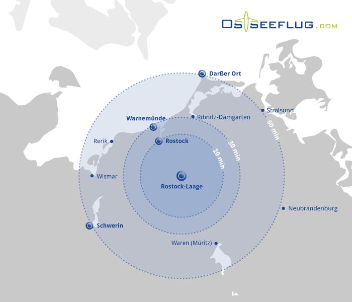 Die Grafik zeigt drei verschiedene Radien um den Flughafen Rostock-Laage an. Diese Radien zeigen an, wie weit man bei einem 20, 30 oder 60 minütigen Rundflug fliegen kann
